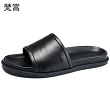 slippers men lazy leisure anti-skid soft bottom trend leather sandals large size fender summer genuine