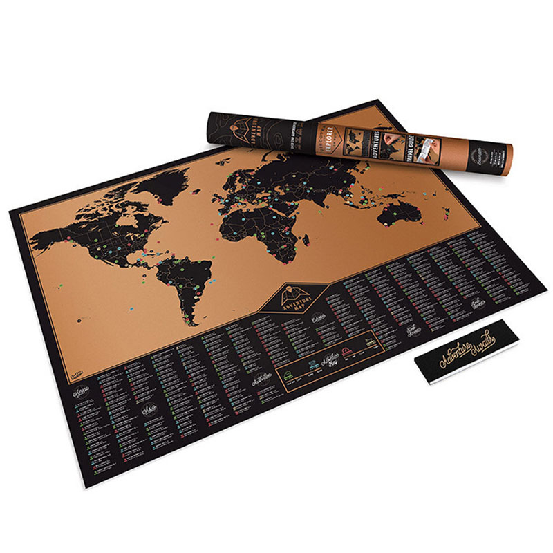 Travel Scratch Map Gold Foil Travel Map Travel World Scratch Off Foil Layer Coating World Map School Office Supplies