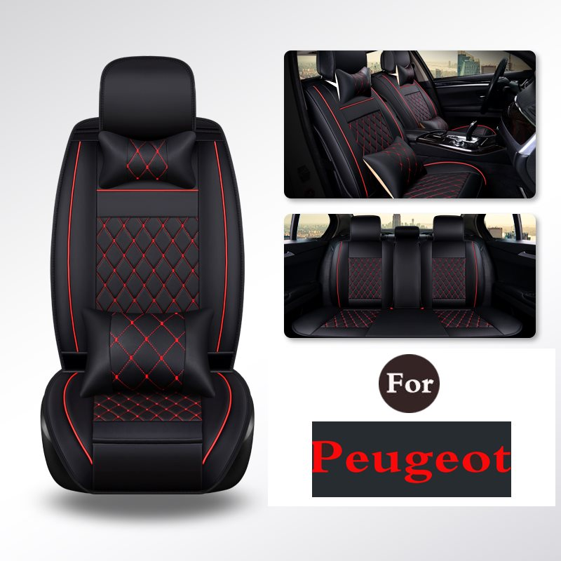 CAR PASS Breathable PU Leather Car Seat Cover Composite Sponge Inside For Peugeot 408 2008 3008 308 508 308s 301 307 207