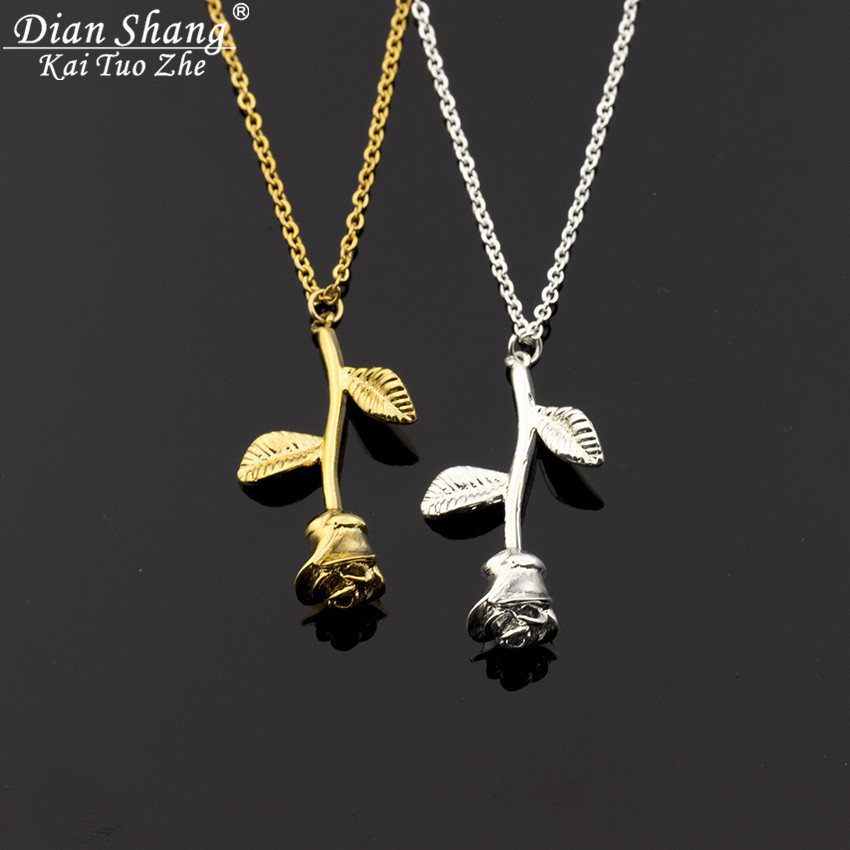 Charm Rose Flower Pendant Necklace Damesmode Boho Jewelry Bijoux - Mode-sieraden - Foto 3