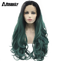 ANOGOL BEAUTY High Temperature Fiber Perruque Long Silky Straight Hair Wigs Black Ombre Green Synthetic Lace Front Wig For Women