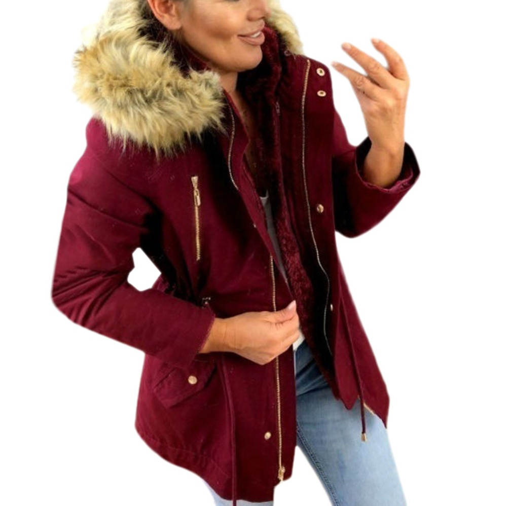Coolred-Men Plus-Size Military Style Warm Faux Fur Hood Parka Jackets