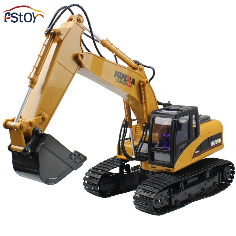 New Generation Full-functional 15-Channel Alloy Bucket High Realistic Electric RC Excavator USB Charging Toy ...