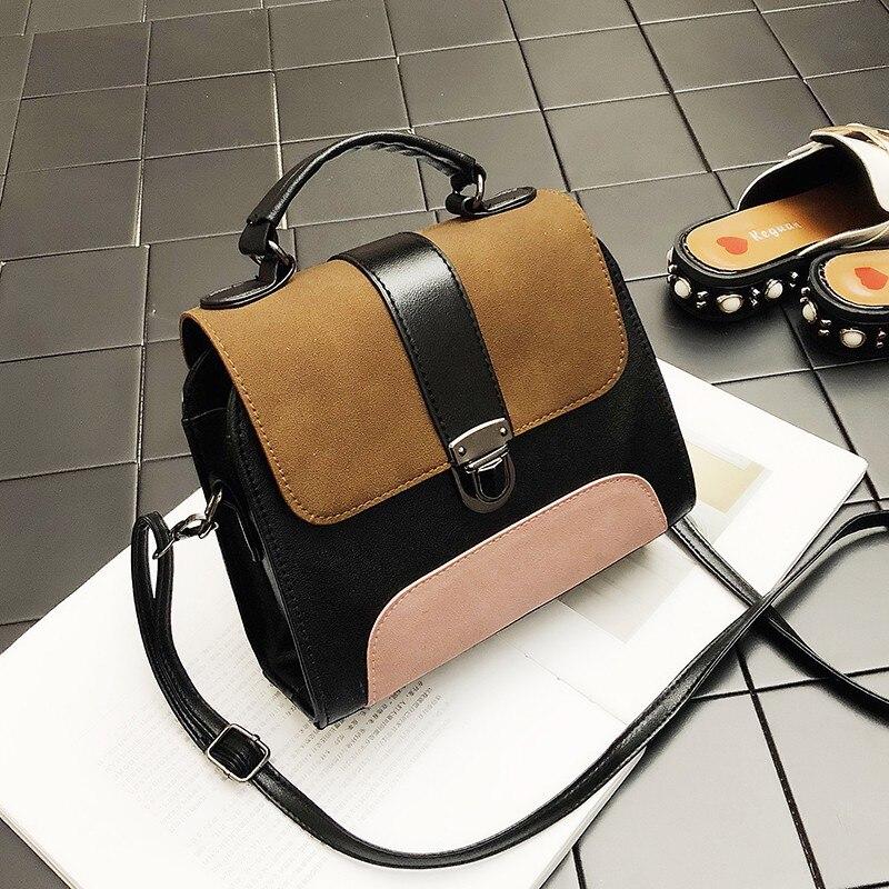 Patchwork Color Crossbody Bags Women Shoulder Vintage Leather Handbags Small Cover Bag