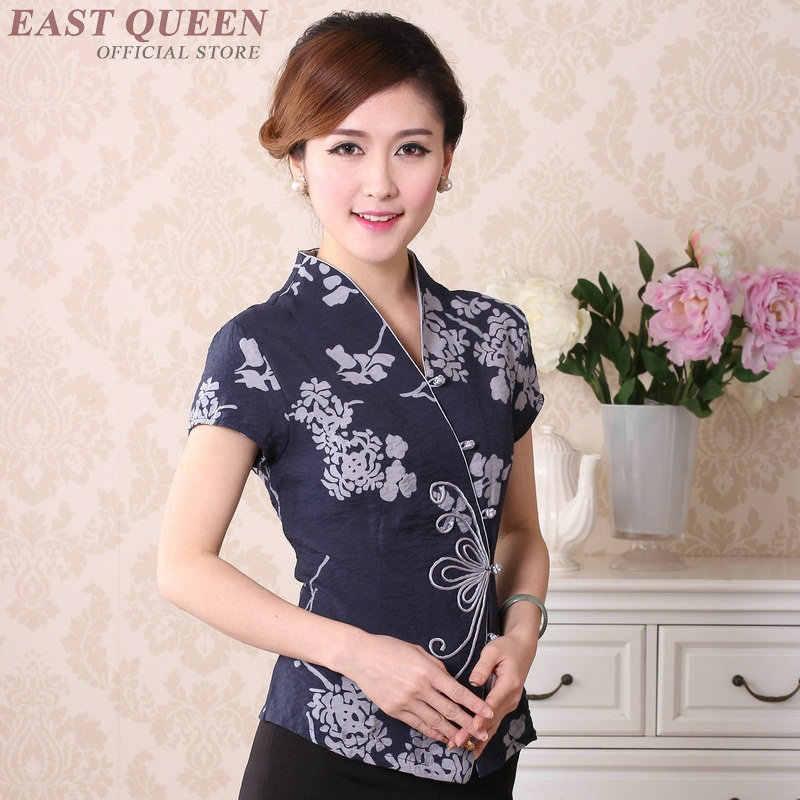 7d26691ac0a ... Традиционная китайская одежда для женщин cheongsam Топ воротник стойка  Женские топы и блузки Восточный Китай одежда
