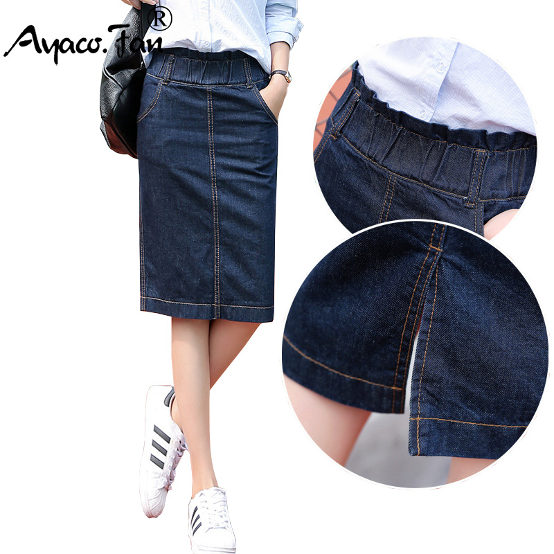 2019 New Summer Jeans Skirt Women Students Girls High Waist Denim Skirts Female Knee-Length Saia Faldas Casual Pencil Skirt