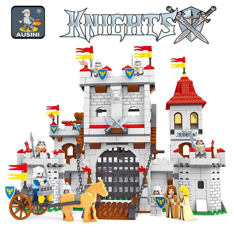 Ausini 27110 cavaleiros castelo série bloco de construção conjunto crianças diy educacional criativo modelo tijolos brinquedos para crianças
