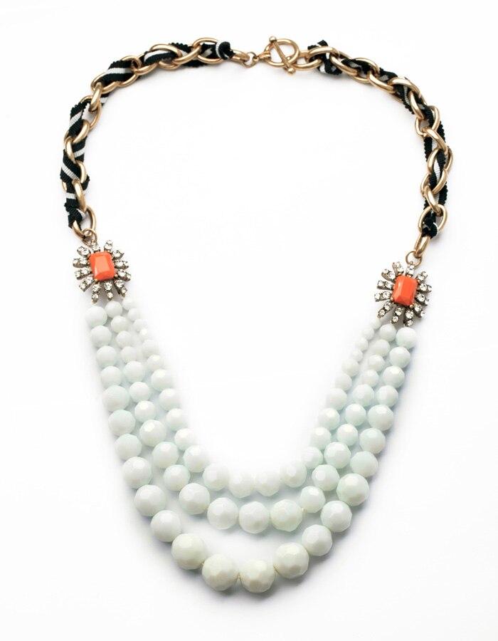 Wholesale Jewelry Unique Resin Ball Vintage Big Exquisite White Stone Pendants Gold Color Elegant Necklace
