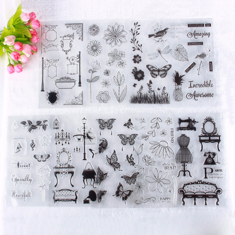 Rubber stamps for crafting - Lovely Pink Girls Series Pattern Transparent Rubber Stamp Seal Diy Album Craft Scrapbooking Decoration 230819