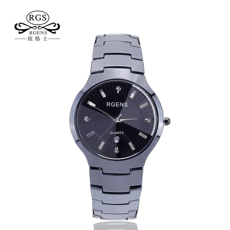 Affari orologi da uomo nero 100% di ceramica quarzo uomo orologi da polso calendario diamante impermeabile orologi maschili RGENS marchio ufficiale