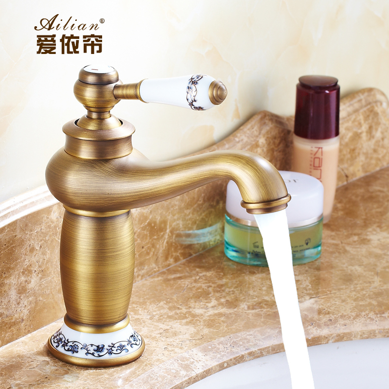 European retro luxury antique blue and white porcelain bathroom faucet basin mixer single hole for White porcelain bathroom faucets