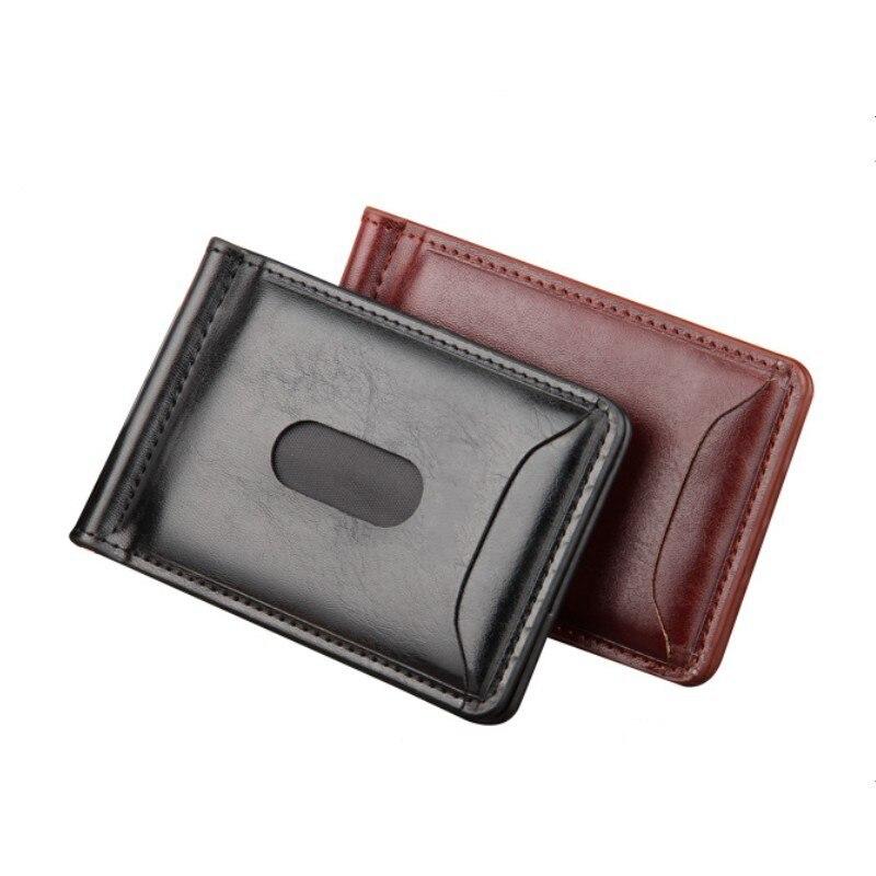 dinheiro dos homens carteiras curto Stiffness : Soft PU Leather Money Clips Coin Pocket