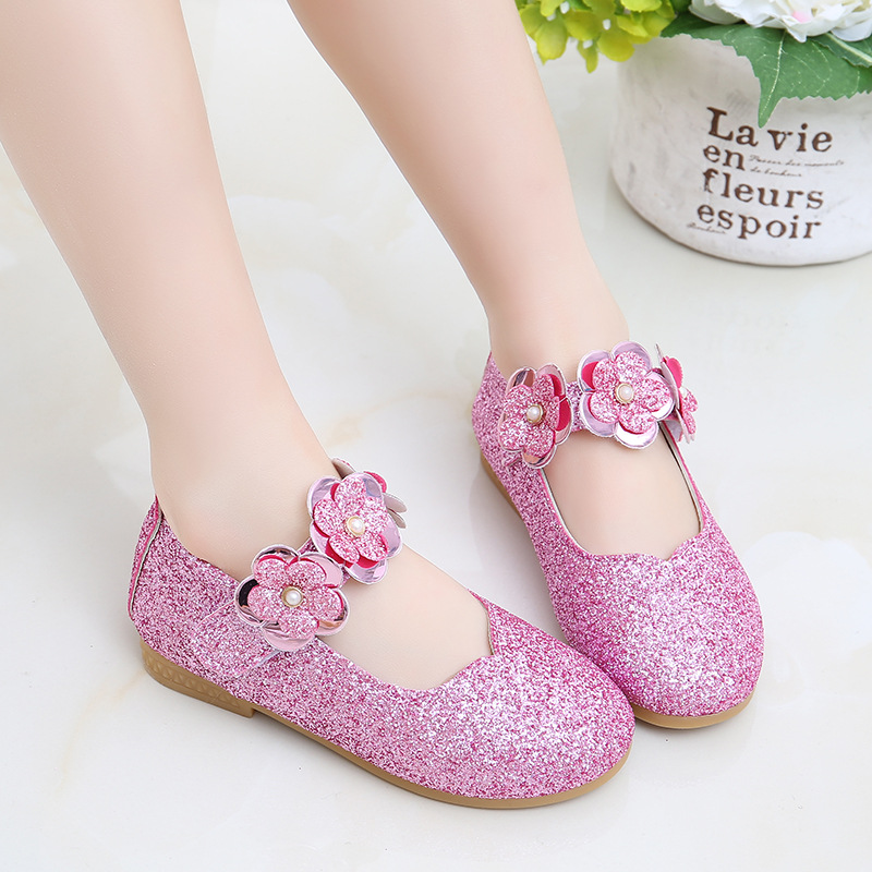 Flowers Children Toddler Baby Little Girl Kids Sequins Dress Shoes For Girls School Black Party And Wedding Leather Shoes New 36