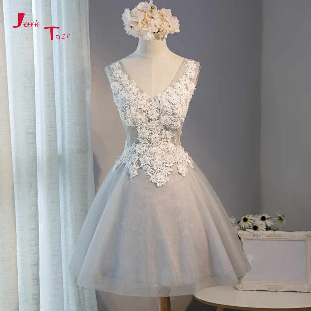 Jark Tozr 2019 New Arrive Short Party Gowns Robe Cocktail V-neck Appliques Beading Above Knee Mini Grey Lace Cocktail Dresses