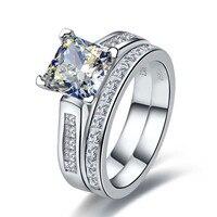 Роскошные 2 карат принцесса вырезать лучшее качество NSCD синтетические бриллиантами обручальное кольцо набор для женщин Свадьба Свадебный