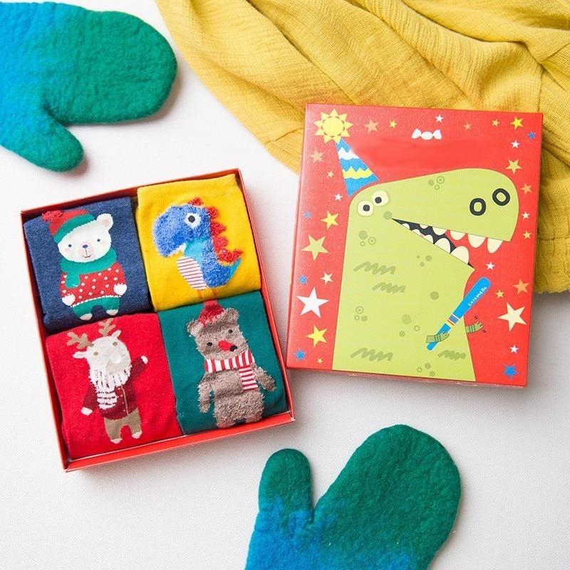 PEONFLY Woman Funny Novelty Happy Socks Colorful Hosiery Women Dinosaur Christmas Kawaii Winter 4PAIRS/LOT