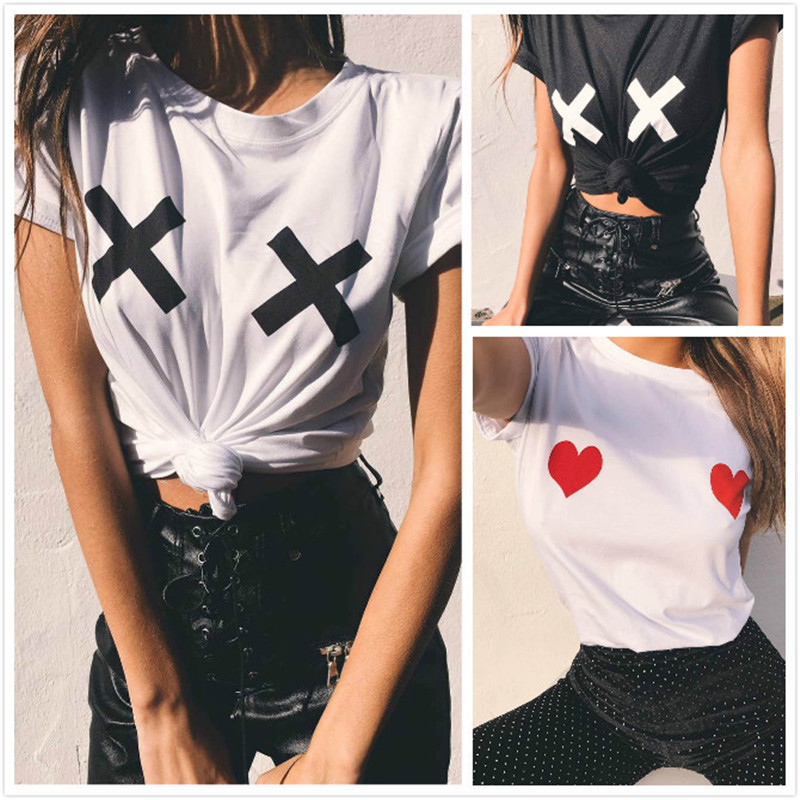 Heart Print Sexy T Shirt Women Short Sleeve O Neck Loose Tshirt 2019 Summer Women Tee Shirt Tops Camisetas Mujer