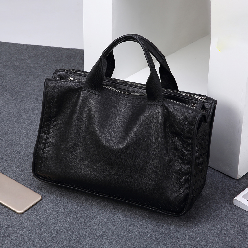 04a56e5d60 TIANHOO woven sheepskin leather man bags 14 inch laptop top handle bags  genuine leather men bag shoulder bag