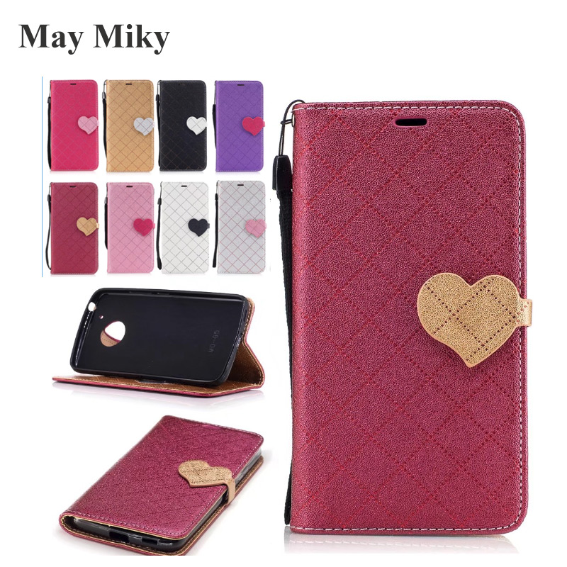 May miky For Moto G5 Plus G4 Plus Case Love Hit Color Case PU Leather Fashion Wallet Leather Cell Phone Bag Capinha Capa