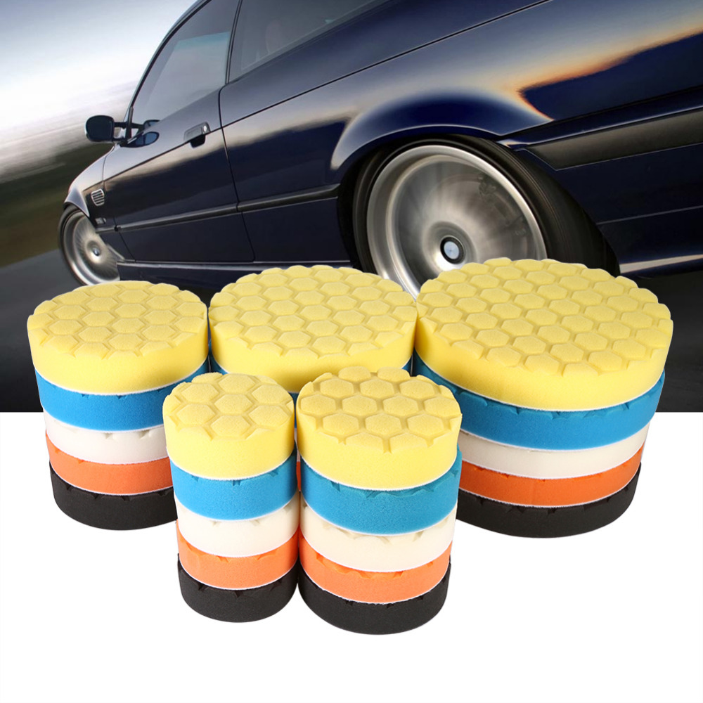 5pcs/Set 3/4/5/6/7 Inch Buffing Sponge Polishing Pad Hand Tool Kit For Car Polisher Wax spta 4 100mm genuine wool buffing ball polishing pad ball hex shank turn power drill or impact driver high speed polisher