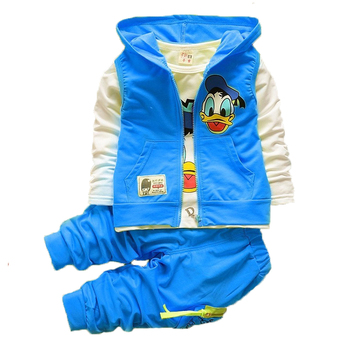 цена на Baby Boys Clothing Sets Fashion Mickey Donald Duck Toddler boy T-shirt Vest Coat And Pants Suit 3pcs Outfits Kids Clothes Set