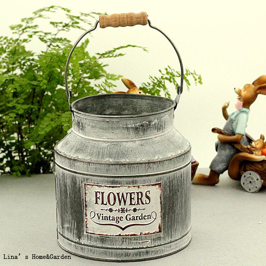 Vintage Garden Handcrafted Metal Zinc Vintage Retro Gray Flower Planter Jug  With Wood Handle In Flower Pots U0026 Planters From Home U0026 Garden On  Aliexpress.com ...