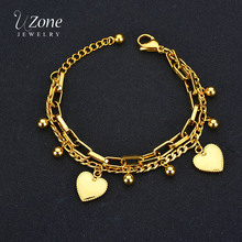 UZone Stainless Steel Double Layer Bead Heart Bracelets & Bangles Charm Link Bracelets For Women Love Gold Chain Jewelry