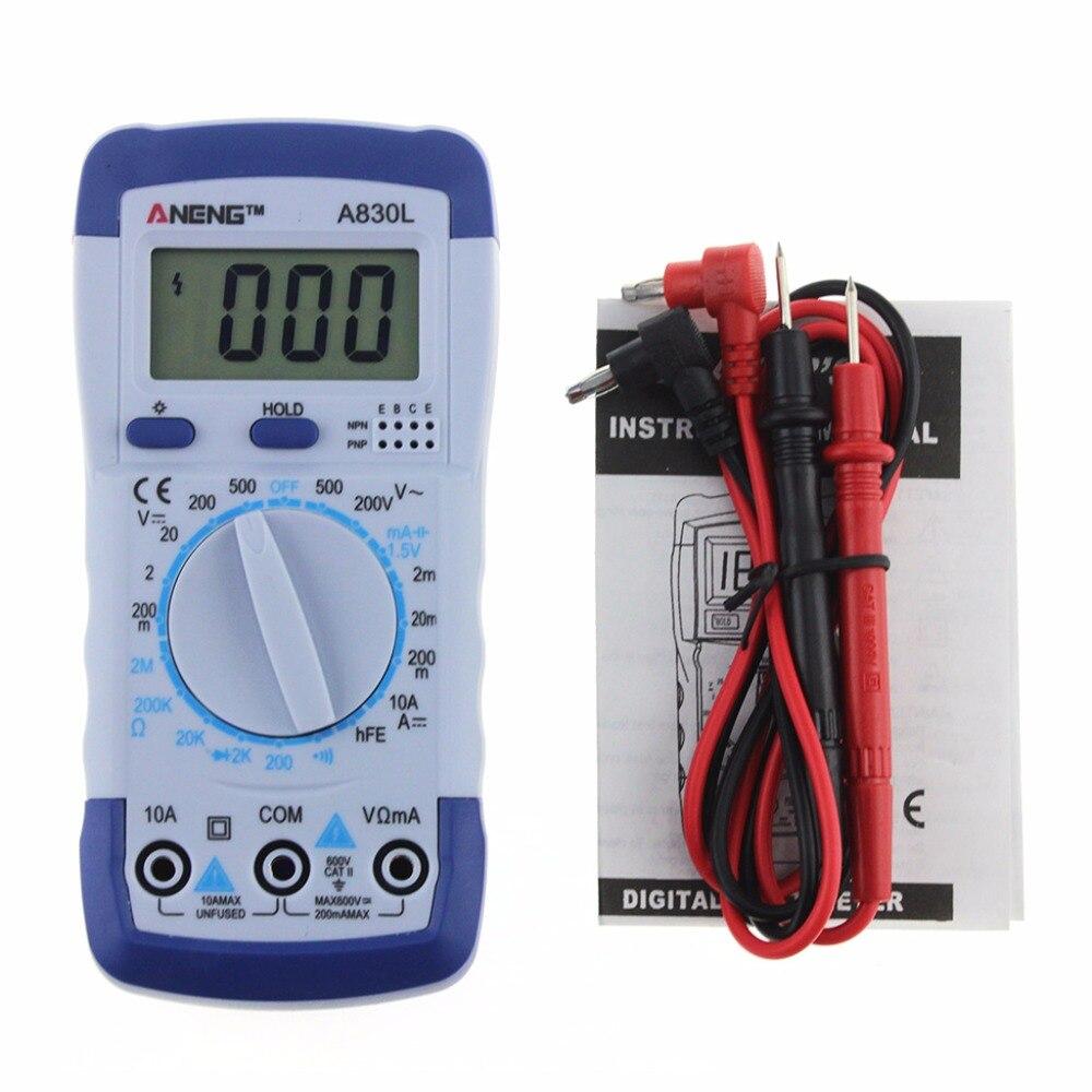 A830L LCD multímetro digital voltaje DC AC ohm diodo freguency multitester corriente Volt tester 1 Unidades