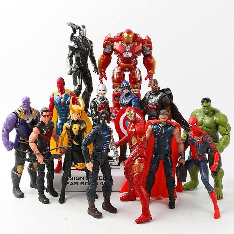 14pcs Avengers Infinity War Loki Black Panther Hulkbuster Action Toy Figures Iron Man Captain America Hulk Thor Thanos Spiderman