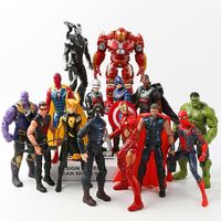 14pcs Avengers Infinity War Loki Black Panther Hulkbuster Action Toy Figures Iron Man Captain America Hulk Thor Thanos Spiderman