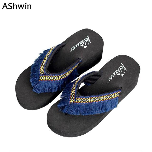 9c8456c5cd93 AShwin lady sandals summer women flip flops tassel slippers bohemia wedge platform  sandal slides vintage ethnic fringe mules