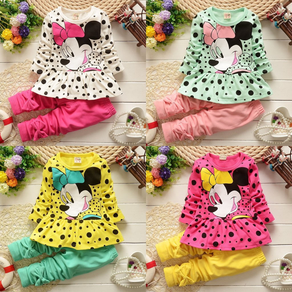 2016 Cartoon Minnie Mouse Baby Girls Dot Tops Dress Pants 2PCS Outfits Baby Kids Clothing