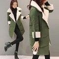 2016 de invierno Verde Del Ejército wadded chaqueta femenina medio-largo delgado del espesamiento de algodón acolchado ropa de abrigo chaqueta de algodón acolchado chaqueta