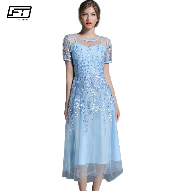Fitaylor 2017 Summer Mesh Embroidery Women Dress Sexy Evening Party Maxi Desses O Neck Short Sleeve Floral Dress Vestidos Mujer