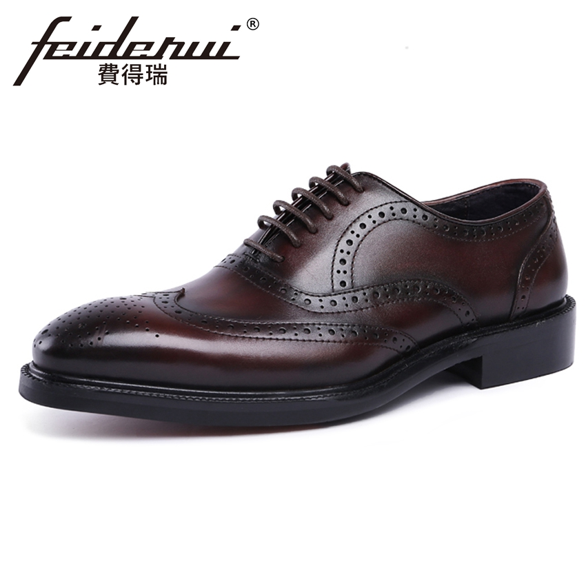 New Arrival Vintage Genuine Leather Mens Handmade Carved Oxfords Round Toe Wingtip Man Formal Dress Wedding Brogue Shoes YMX298 pjcmg new arrival oxfords men shoes genuine leather wingtip carved lace up vintage fashion wedding business male shoes men flats