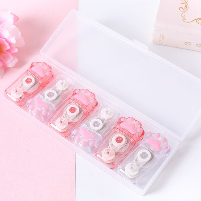 6pcs Cute Cat Claw Correction Correcting Tape Stationery Corrector School Office Supplies Student Kids Gifts