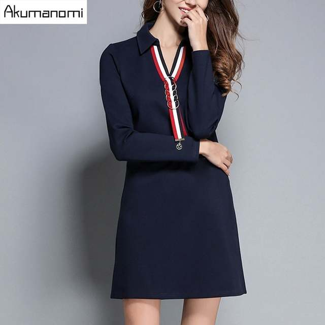 adcd0dd783e Autumn-Winter-Dress-Navy-BlueTurn-down-Collar-Rib-Metal-Ring-Pearl-Ornament-Women-Clothes-Spring-Office.jpg 640x640q70.jpg