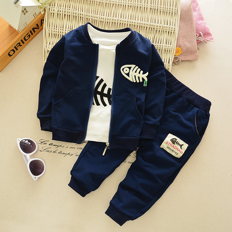 Nnilly 2018 Spring Autumn Favourite Active Suit Kids Clothes Childrens Clothing Boy Brand 3pcs/set Print Cartoon T-shirt+Pants