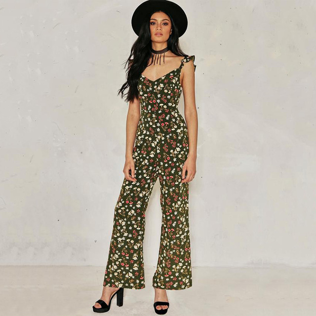 2ee43469a300 2018 Jumpsuits Summer Boho Style Chiffon Rompers Womens Jumpsuit Floral  Backless Off Shoulder Beach Sexy Playsuit