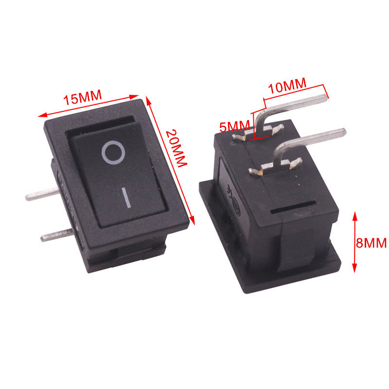 10 Pcs 20*15*8mm On / Off Black Rocker Switch 90 Degree Curved Plug 4 Plugs Switch 6A 250V 10A 125V AC Electrical Accessories 5 pcs ac 6a 250v 10a 125v 3 pin black button on on round boat rocker switch