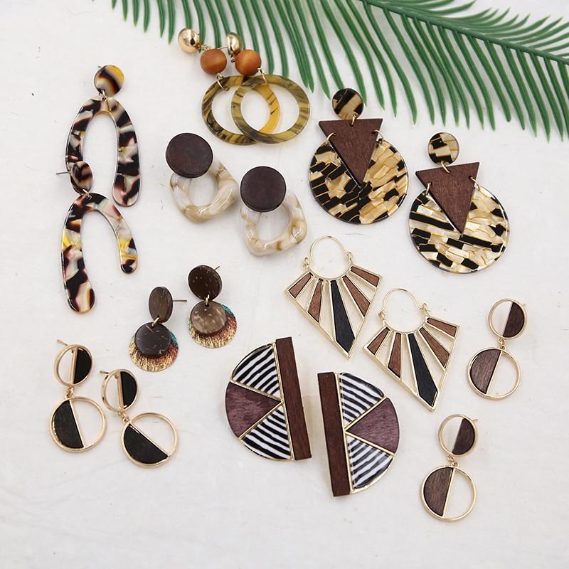 Leopard Earrings for Women Tortoiseshell Resin Earring Vintage Acrylic Earrings wooden Handmade Jewelry 2019