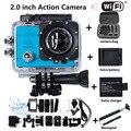O Envio gratuito de Esportes Câmera WI-FI 1080 P 2.0 polegada 170 graus lente 30 M Extra Bateria e Carregador + Monopé + Câmera à prova d' água saco