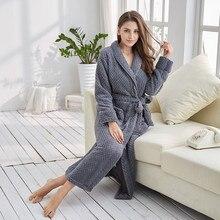 Фотография Tony&Candice Robe Women Sleepwear Winter Grande Taill Girl Nightgown Fleece Nightdress Sexy Long Robe Soft Female Dressing Gown