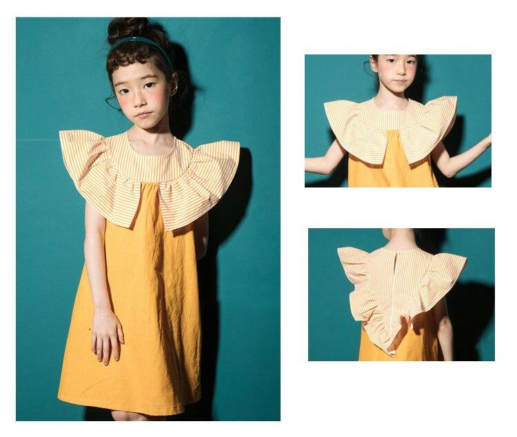 2018 fashion patchwork ruffles dress baby girls dresses for kids summer petal sleeve cotton princess dresses children clothing   (8)