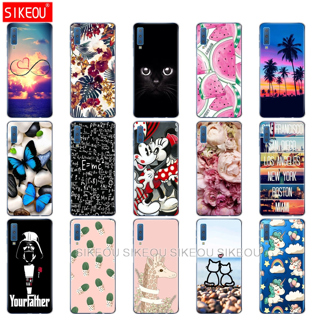 phone Case For Samsung Galaxy A7 2018 soft Cover Silicone Colorful Printing Back Cases For Samsung A7 2018 A750 A750F 6.0 Inch