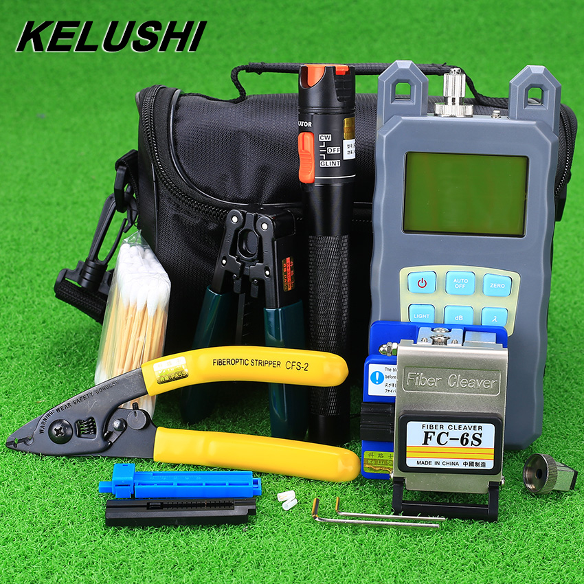 KELUSHI 19pcs Fiber Optic FTTH Tools Kits Optical Power Meter with FC SC Connector Visual Fault locater 1MW Optic Cable Tester