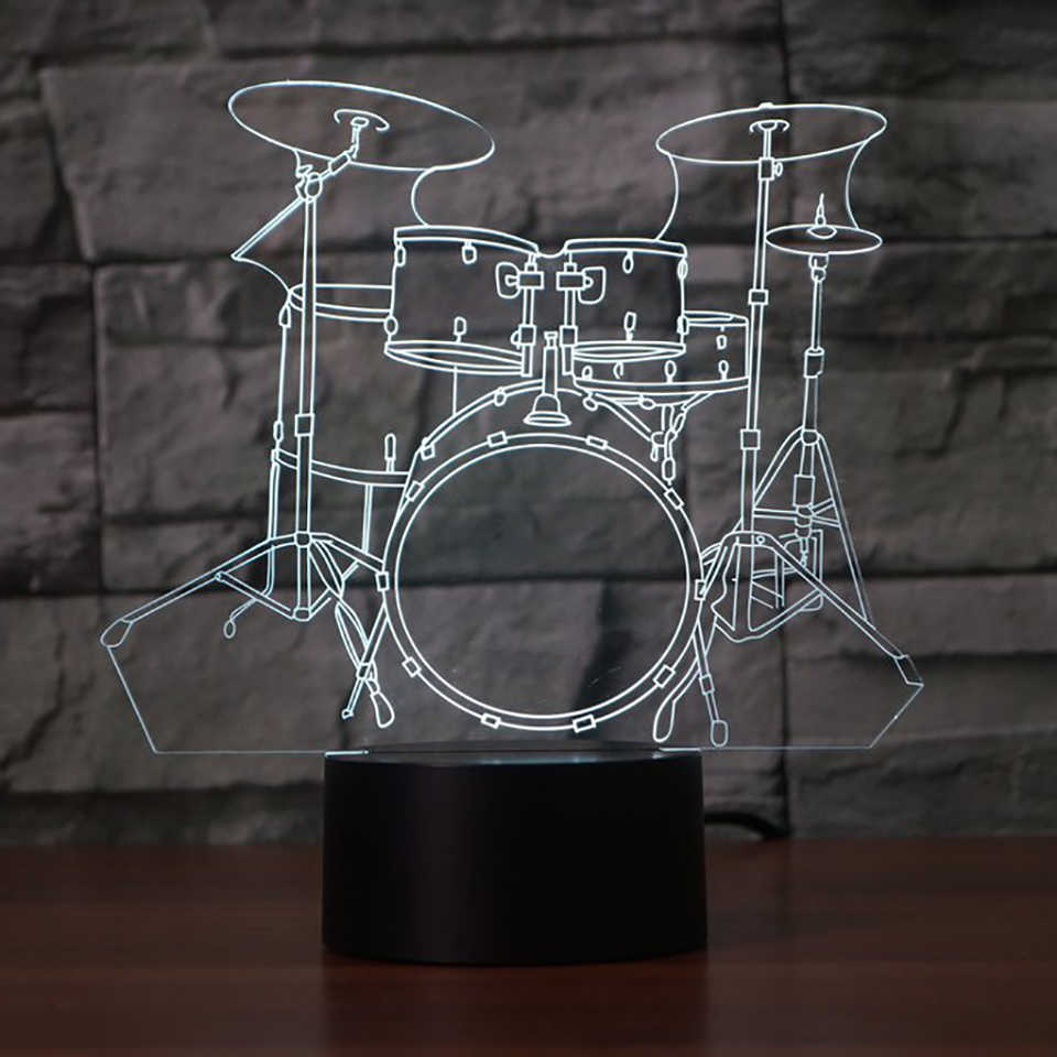 Creative Drum Set 3d Lamp 7 Color Change Remote Touch Switch Led 3d Night Light Lights Musical Instruments Atmosphere Lamp 3d Lamp Atmosphere Lampled 3d Night Light Aliexpress