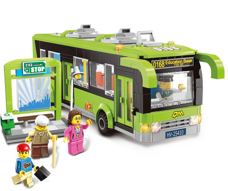 Enlighten City Bus Station Educational Toys For Children Giocattoli Building Blocks Bricks Sets Compatible With Bela Friends lepin 02012 city deepwater exploration vessel 60095 building blocks policeman toys children compatible with lego gift kid sets
