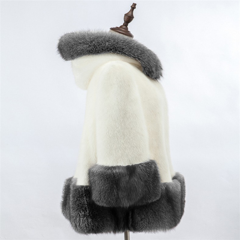 Avec Plus De Hiver Manteau Noir 2017 Taille Veste Faux Imitation Blanc Luxe Automne ivoire Fourrure Femmes Long Chapeau 6xAAq85X