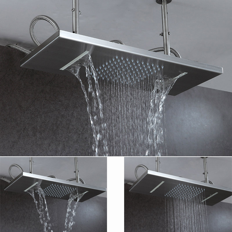 Ceiling Rain Shower Head Brushed Rainfall Waterfall Bathroom Showerhead Double Functions 304 Stainless Steel Square Showers nickel brushed square 12 rainfall shower head bathroom stainless steel showerhead with shower arm